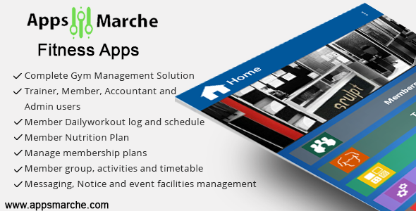 appsmarche best fitness mobile app ever,best gym mobile app, fitness business mobile app, app builder